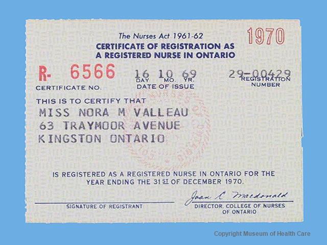 certificate of registration as a registered nurse in Ontario &bullet ...